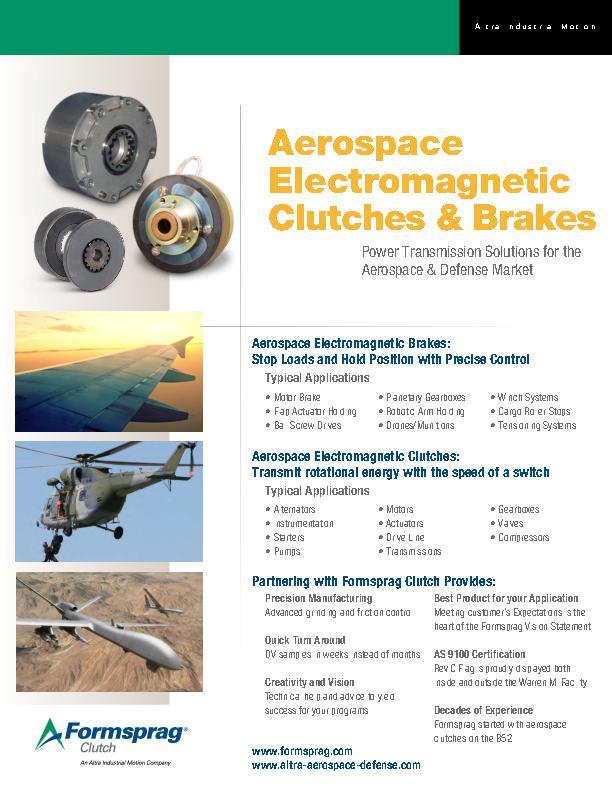 Aerospace Electromagnetic Clutches & Brakes