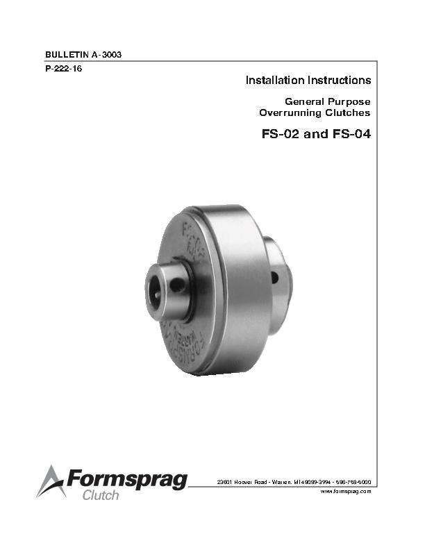 General Purpose Clutches FS-02 & FS-04 Installation