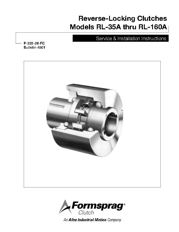 Reverse-Locking Clutches RL-35A thru RL-160A Installation