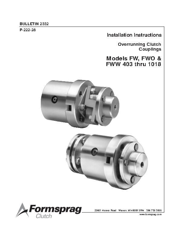 Clutch Couplings FW, FWO & FWW 403 thru 1018 Installation