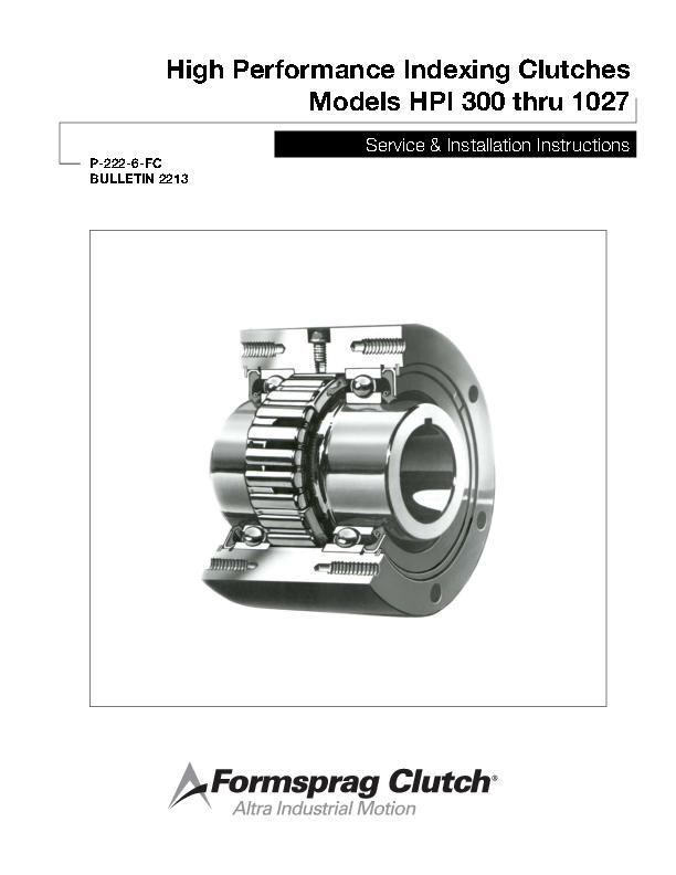 High Performance Indexing Clutches HPI 300 thru 1027 Install